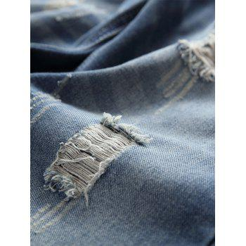 Ripped Scratch Straight Casual Jeans - DEEP BLUE 34