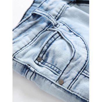 Splicing Ripped Skinny Stretch Denim  Biker Jeans - DENIM BLUE 34