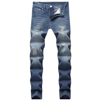 Ripped Scratch Straight Casual Jeans - DEEP BLUE 42
