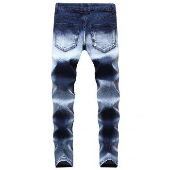 Stars Zippered Denim Biker Jeans - DARK SLATE BLUE 30