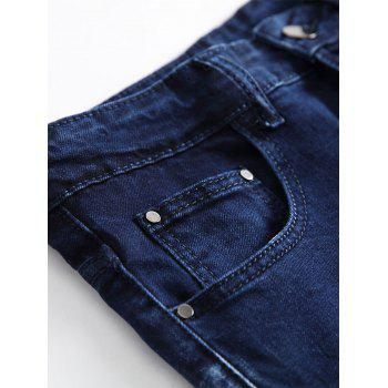 Stars Zippered Denim Biker Jeans - DARK SLATE BLUE 36