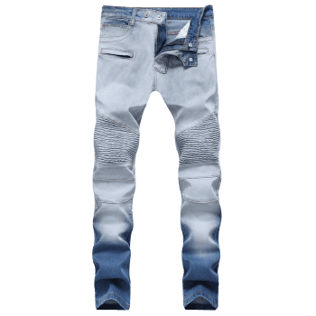 Hook Button Straight Leg Distressed Biker Jeans - JEANS BLUE 40