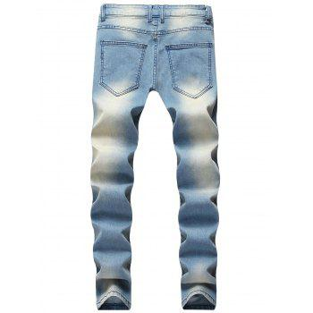 Five Pointed Stars Raised Zippers Ripped Jeans - JEANS BLUE 30
