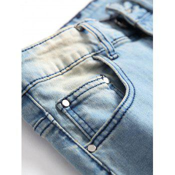 Five Pointed Stars Raised Zippers Ripped Jeans - JEANS BLUE 32