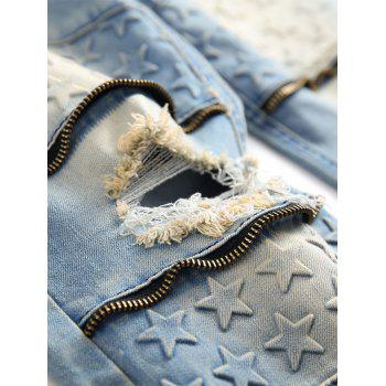 Five Pointed Stars Raised Zippers Ripped Jeans - JEANS BLUE 42
