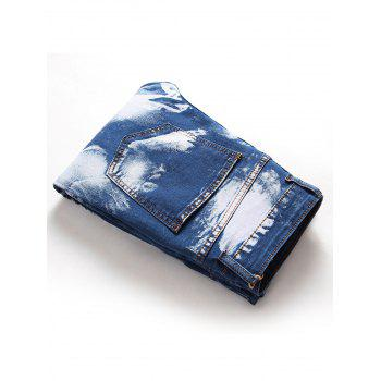 Hook Button Paint Splatter Print Straight Leg Jeans - DEEP BLUE 30