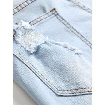 Flowers Embroidery Ripped Hole Jeans - JEANS BLUE 32