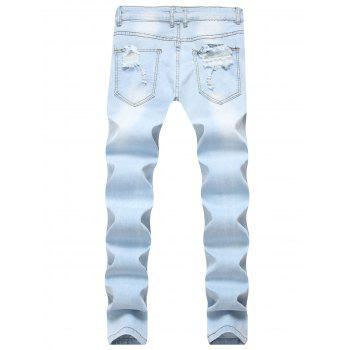 Flowers Embroidery Ripped Hole Jeans - JEANS BLUE 34