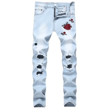Flowers Embroidery Ripped Hole Jeans - JEANS BLUE 38