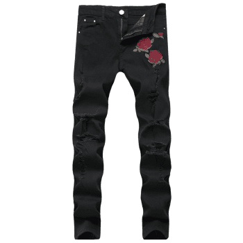 Rose Embroidery Ripped Stretch Jeans - BLACK 30