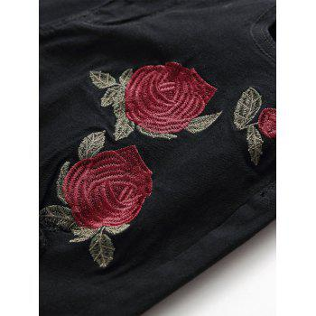 Rose Embroidery Ripped Stretch Jeans - BLACK 32