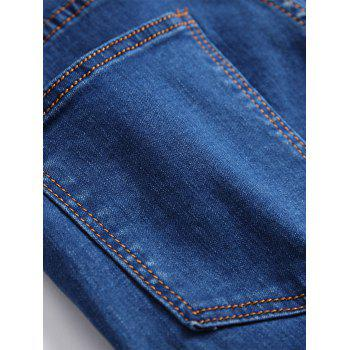 Gradient Color Pleated Zippers Ripped Skinny Bike Jeans - DEEP BLUE 30