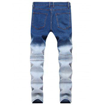 Gradient Color Pleated Zippers Ripped Skinny Bike Jeans - DEEP BLUE 40