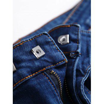 Gradient Color Pleated Zippers Ripped Skinny Bike Jeans - DEEP BLUE 42