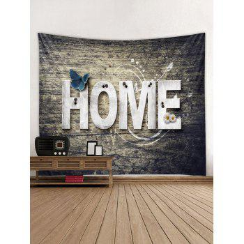 Home Wooden Butterfly Flower Tapestry Hanging Decor - TAUPE W59 INCH * L59 INCH