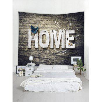 Home Wooden Butterfly Flower Tapestry Hanging Decor - TAUPE W91 INCH * L71 INCH