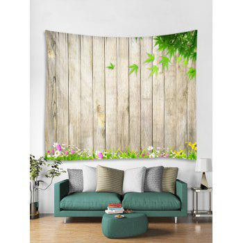 Wooden Flower Leaf Pattern Tapestry Decoration - multicolor W59 INCH * L51 INCH