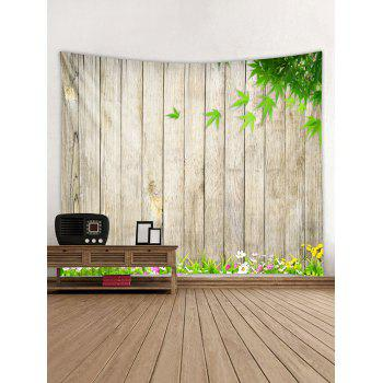 Wooden Flower Leaf Pattern Tapestry Decoration - multicolor W79 INCH * L71 INCH