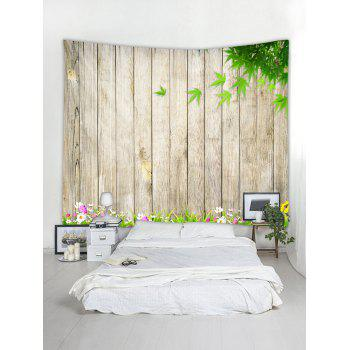 Wooden Flower Leaf Pattern Tapestry Decoration - multicolor W91 INCH * L71 INCH
