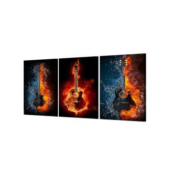 Burning Guitar Print Unframed Canvas Paintings - multicolor 3PC:12*18 INCH( NO FRAME )