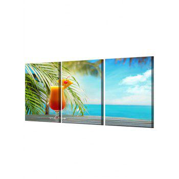 Seaside Juice Print Unframed Canvas Paintings - multicolor 3PC:16*24INCH(NO FRAME)