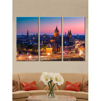 Night City Print Unframed Canvas Paintings - multicolor 3PC:12*18 INCH( NO FRAME )