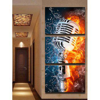 Microphone Art Print Unframed Canvas Paintings - multicolor 3PC:12*18 INCH( NO FRAME )