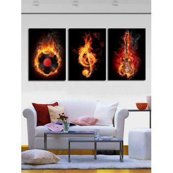 Burning Music Print Unframed Canvas Paintings - multicolor 3PC:16*24INCH(NO FRAME)