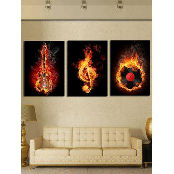 Burning Music Print Unframed Canvas Paintings - multicolor 3PC:12*18 INCH( NO FRAME )