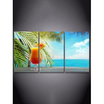 Seaside Juice Print Unframed Canvas Paintings - multicolor 3PC:12*18 INCH( NO FRAME )