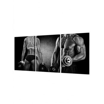 Fitness Dumbbell Print Unframed Canvas Paintings - BLACK 3PC:16*24INCH(NO FRAME)
