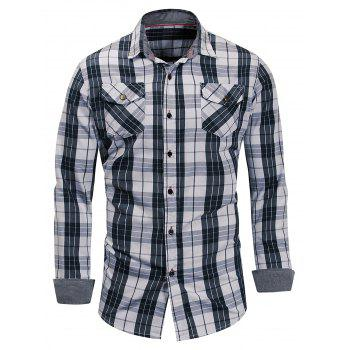 Casual Long Sleeve Plaid Shirt - GRAY DOLPHIN L