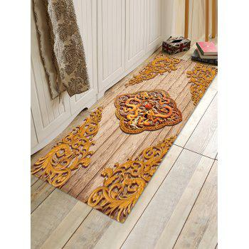 Vintage Carved Dragon and Phoenix Print Antiskid Floor Rug - GOLD W16 INCH * L47 INCH