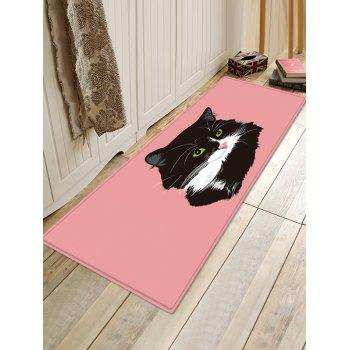 Uhommi Black Cat Painting Pink Background Print Bath Floor Rug - PINK DAISY W16 INCH * L47 INCH