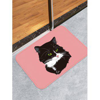 Uhommi Black Cat Painting Pink Background Print Bath Floor Rug - PINK DAISY W16 INCH * L24 INCH
