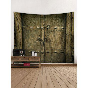 Old Wooden Door Print Wall Hanging Art Tapestry - OAK BROWN W59 INCH * L51 INCH