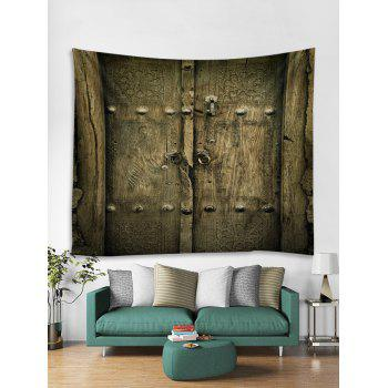 Old Wooden Door Print Wall Hanging Art Tapestry - OAK BROWN W79 INCH * L59 INCH
