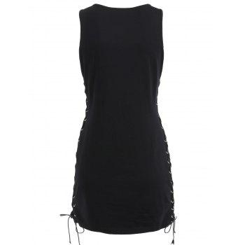 Lace Up Drum Graphic Tank Dress - BLACK 2XL