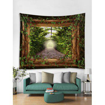 Green Leaves Wooden Frame Print Wall Decor Tapestry - GREEN W79 INCH * L59 INCH