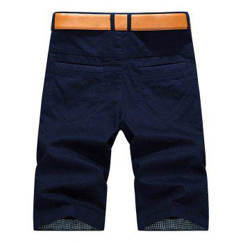 Plaid Hem Pocket Short Casual Pants - DEEP BLUE 40