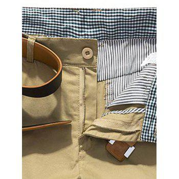 Plaid Hem Pocket Short Casual Pants - DARK KHAKI 34