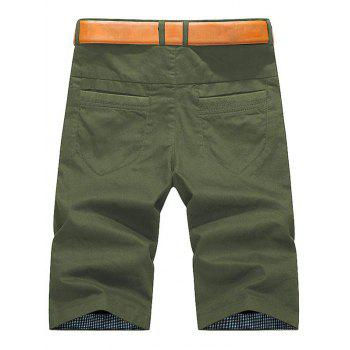 Plaid Hem Pocket Short Casual Pants - ARMY GREEN 40