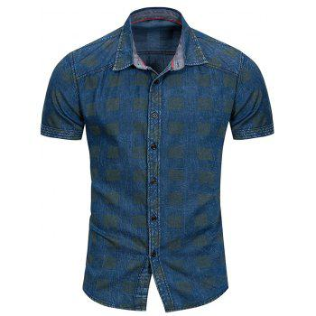 Check Print Button Up Shirt - BLUE JAY M