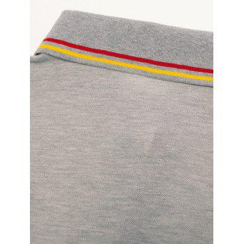 Embroidery Letter Stripe Trim Polo T-shirt - GRAY CLOUD XL