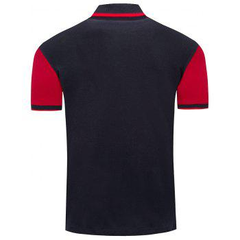 Embroidery Letter Contrast Color Polo T-shirt - MIDNIGHT BLUE M