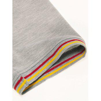 Embroidery Letter Stripe Trim Polo T-shirt - GRAY CLOUD M