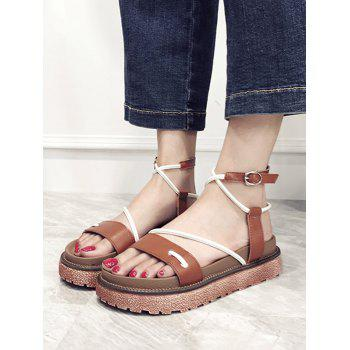 Ankle Strap Crisscross Platform Contrasting Color Sandals - BROWN 37