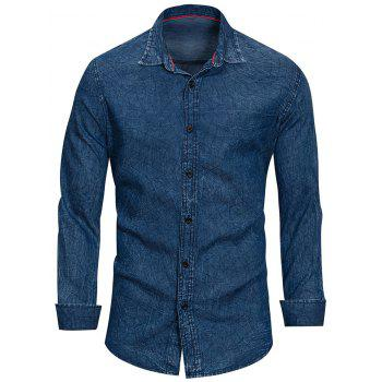 Casual Net Pattern Button Up Denim Shirt - DEEP BLUE M