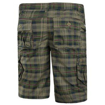 Zip Fly Check Print Cargo Shorts - LIGHT KHAKI 2XL