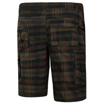 Zip Fly Check Print Cargo Shorts - DARK KHAKI 3XL